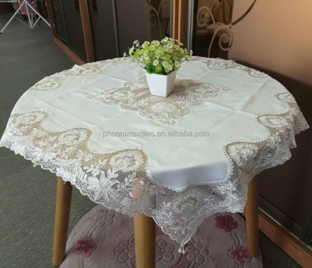 Heavy beads embroidery table cover