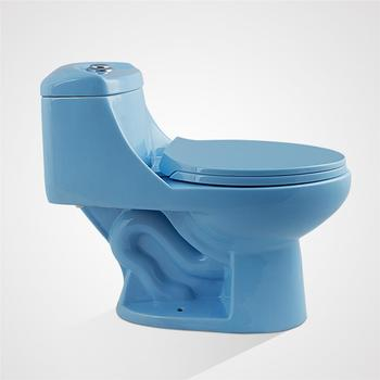 Hot Selling Ceramic Floor Mounted Sitting Blue Toilets For