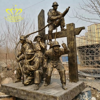 Garden home Decor Fiberglass crafts New product bronze colour Fire fighters Statue