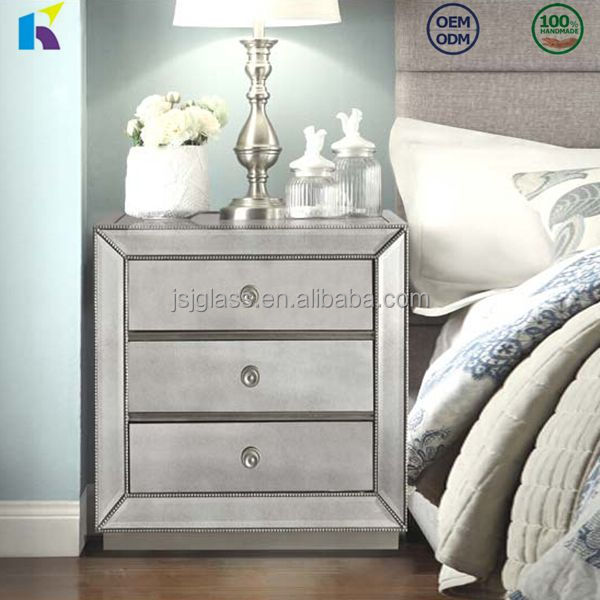 High quality hotel bedroom furniture mirror nightstand with 3 drawers mirrored furniture
