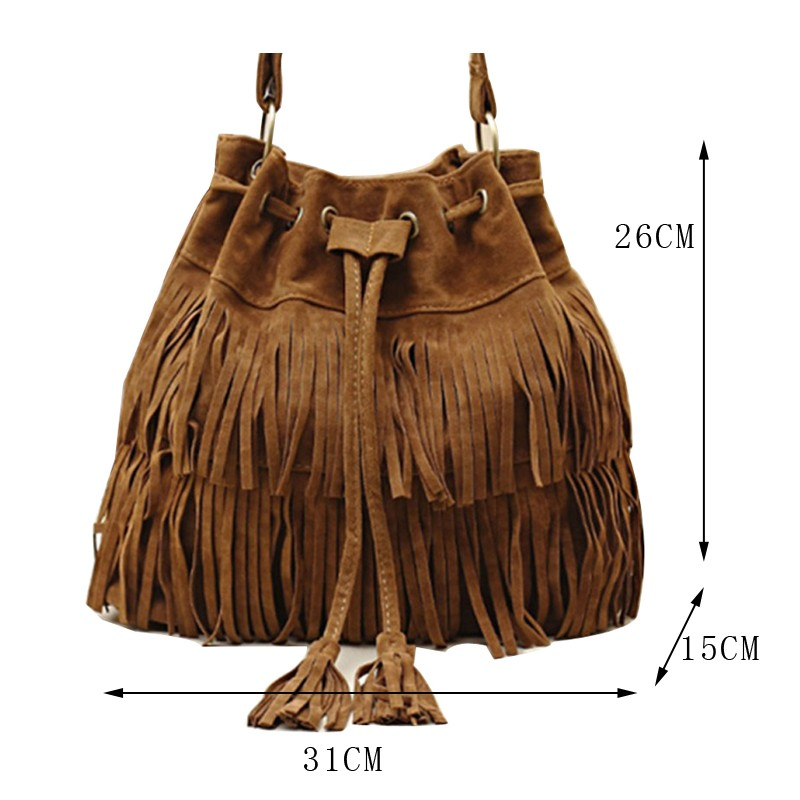 ec00670470f Wholesale Suede Drawstring Bucket Bag Women Handbag Faux Fringe ...
