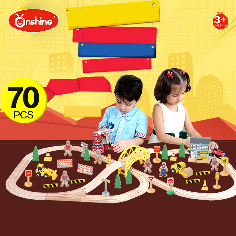 children toys new 2016 style 70pcs Construction Wooden toy train tracks
