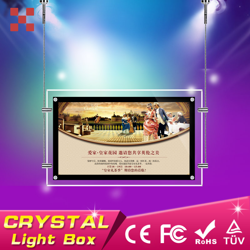 Wall mounting A2 acrylic crystal led light box for <strong>advertising</strong>,acrylic hanging poster frame,acrylic led light box