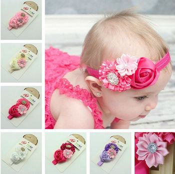 Baby Girl Hair Accessories Satin Ribbon Flower With Lace Elastic Headband  Weave band Baby Hair Accessories 1caef7261a3