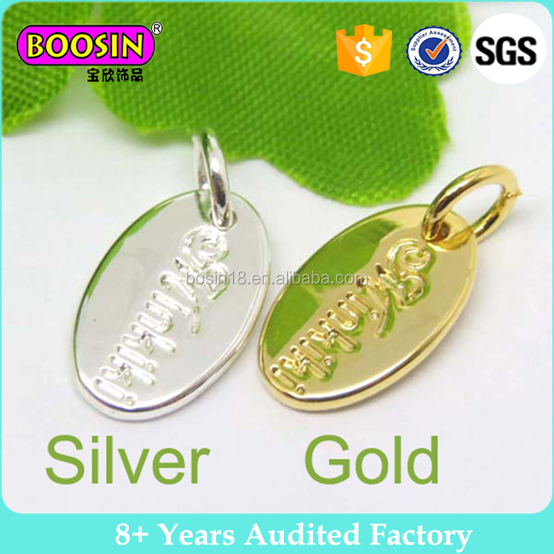 Wholesale new arrival gold oval custom tag logo engraved jewelry tag charm for gift #004