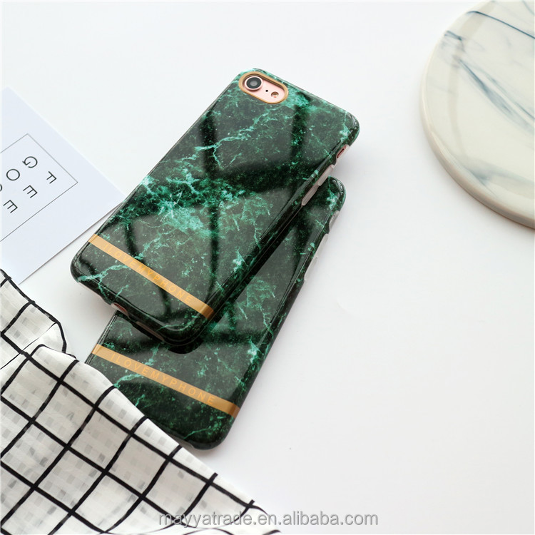 Forest Greens Granite Marble Pattern Emeralds Anti Shock Design Soft TPU Flexible Case for iPhone 6 7
