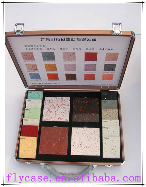 aluminum carrying sample case marble stone sample aluminum case with stock,size:370*250*73mm