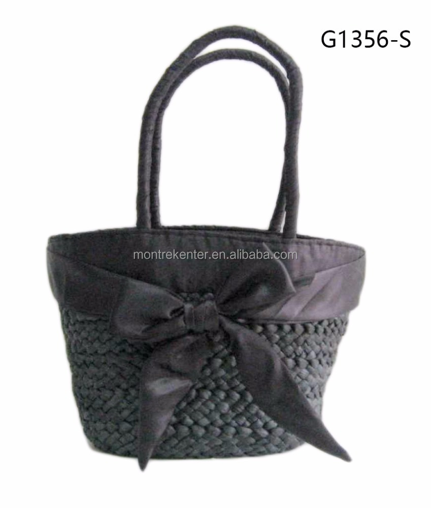 Promotional New reusable knitted applique corn husk straw basket bag for women