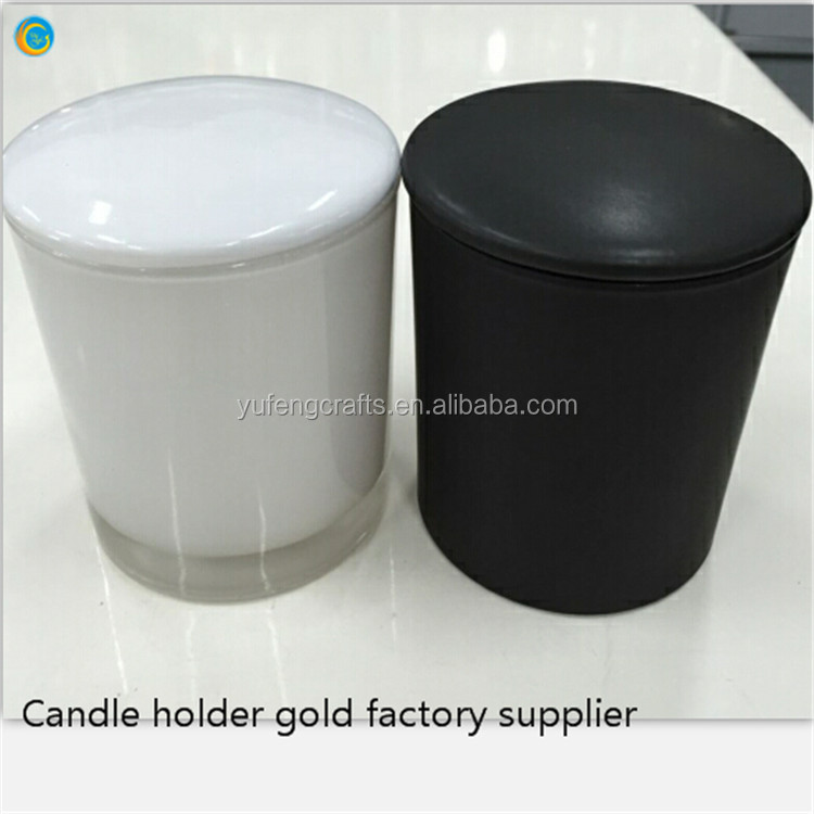 Frosted glass candle jars with ceramic lid