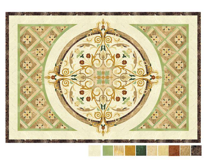 Western Inlay Floor Tile Circular Design : Royal hotel interior design floor natural stone medallion