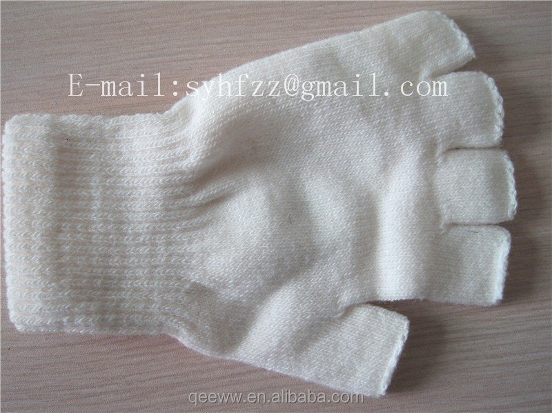 Stylish New Style white color logo printing Fingerless Gloves Winter Half Finger girl Flip Knitted Mittens Hot Sale