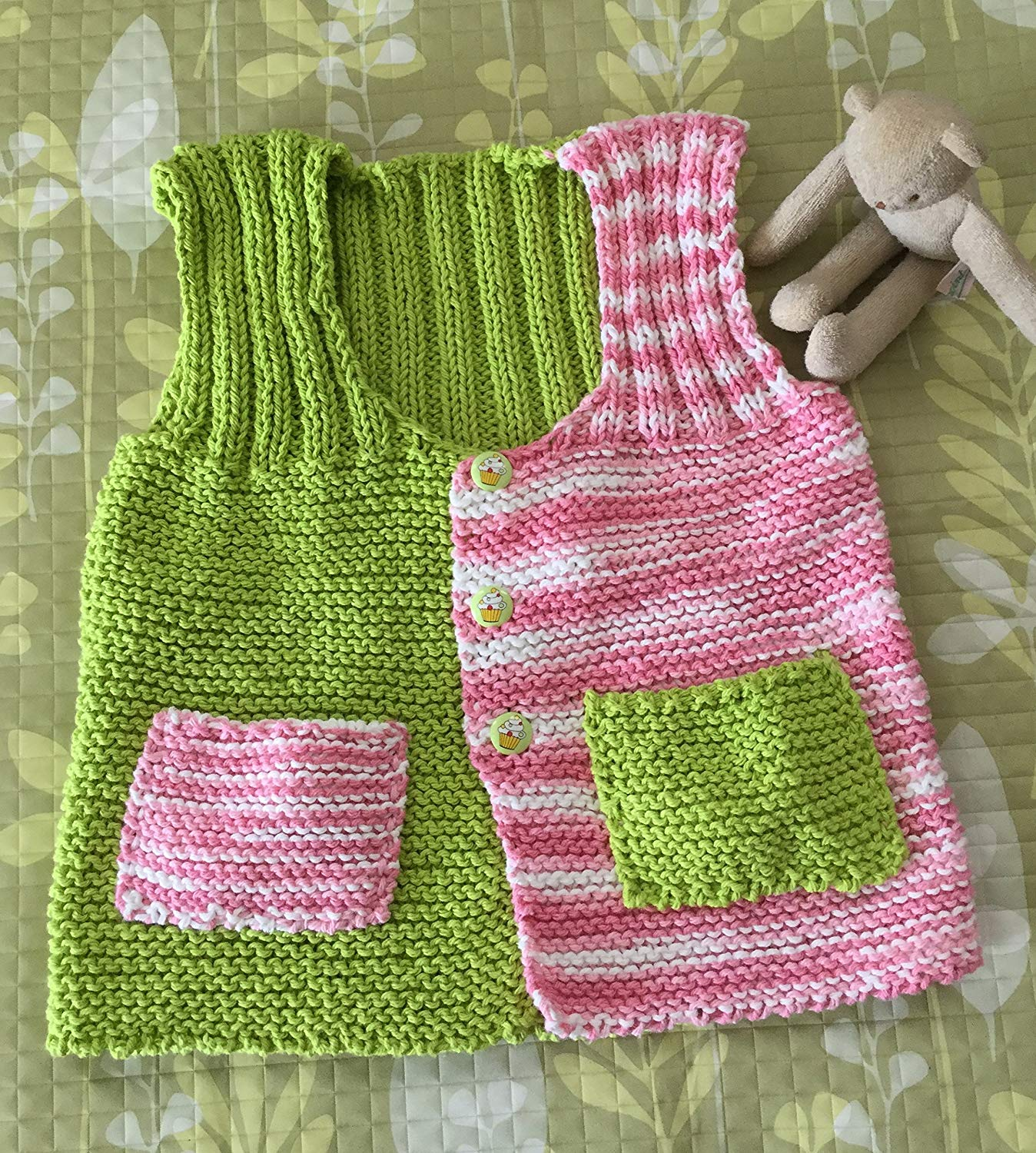 98fe72580cd1ae Get Quotations · Cute Hand Knit Baby Sweater--Rosy Pink   Lime Green Cotton  Yarn with 3