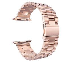 Роскошный ремешок из нержавеющей стали для Apple watch 4, 5, ремешок 42 мм/38 мм iWatch, ремешок 44 мм/40 мм, металлический браслет для часов 3, 2, 1, аксессуар...(Китай)
