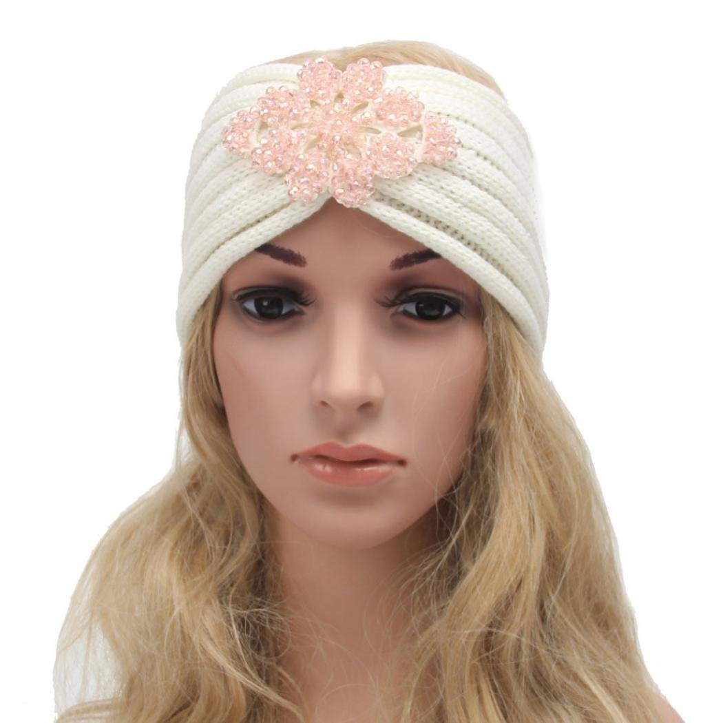 DEESEE(TM) Women Bohemia Diamond Knitting Headband Handmade Keep Warm Hairband (Pink)