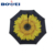 23 inch L handle automatic black long shaft reverse umbrella with yellow sunflower print inside