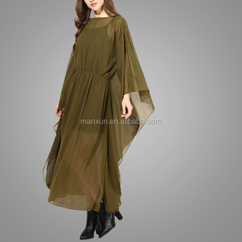 Comfortable Chiffon Maxi Dress with Lining Olive Green Kimono For Lady 2016
