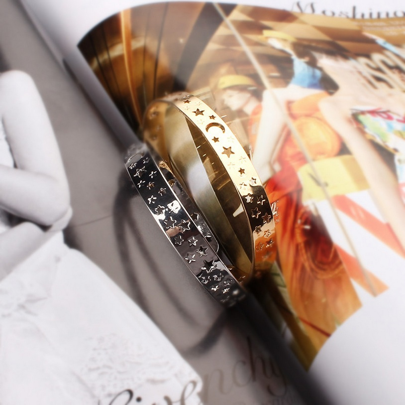 hollow star bracelet gift jewelry silver gold bangle