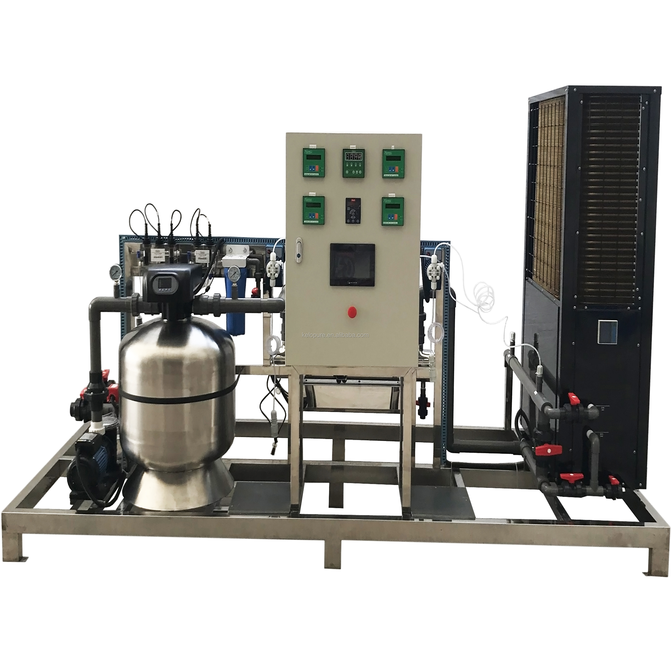 Customized one set swimming pool water filtration skid Emaux sand filter and heat pump equipment
