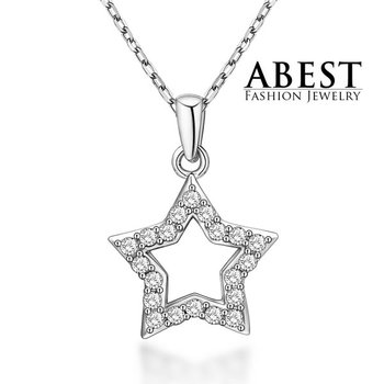 Elegant Beautiful White Zircon 925 Sterling Silver Pendant Fashion Design Pendant Jewelry Wholesale Star of David Pendant