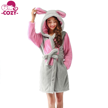 de05aeae4053 2017 Fashion and Cute Plush Animal Cartoon Long Robes Womens Hooded  Bathrobes Nightwear Unisex Cosplay Pajamas
