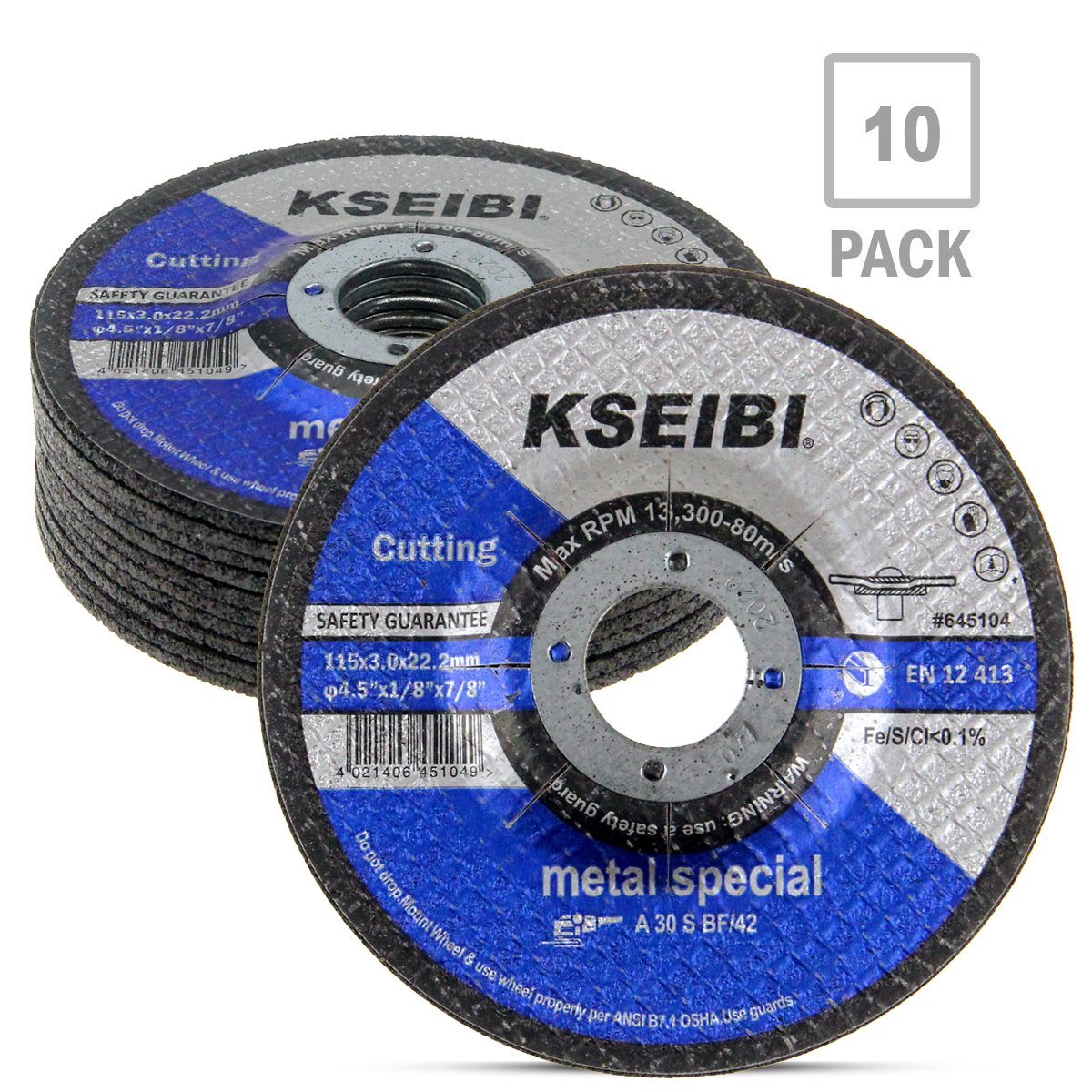 KSEIBI 645104 4-1/2-Inch by 1/8-Inch Metal Cutting and Grinding Disc Depressed Center Cut Off Grind Wheel, 7/8-Inch Arbor, 10-Pack