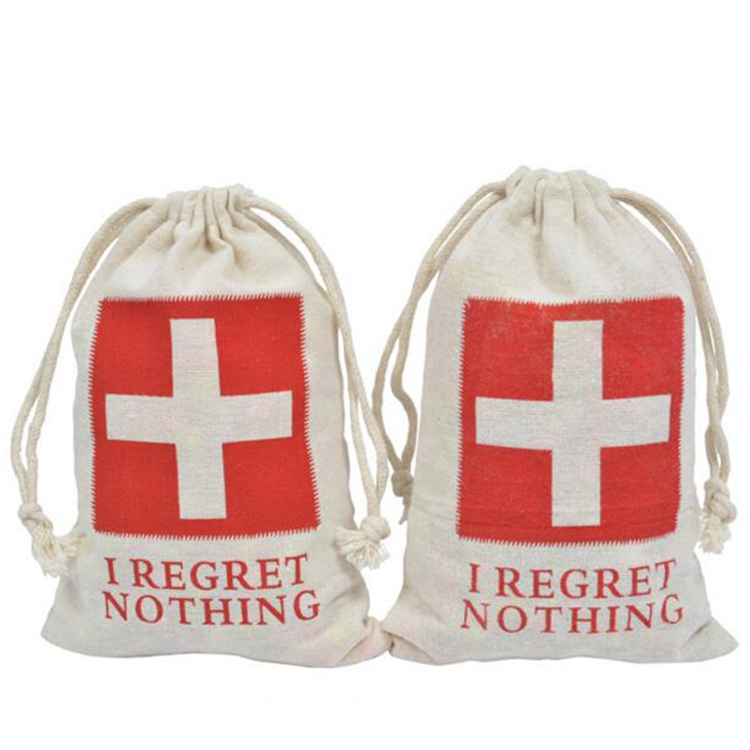 High quality rope cotton bag Red Cross tool cotton bag