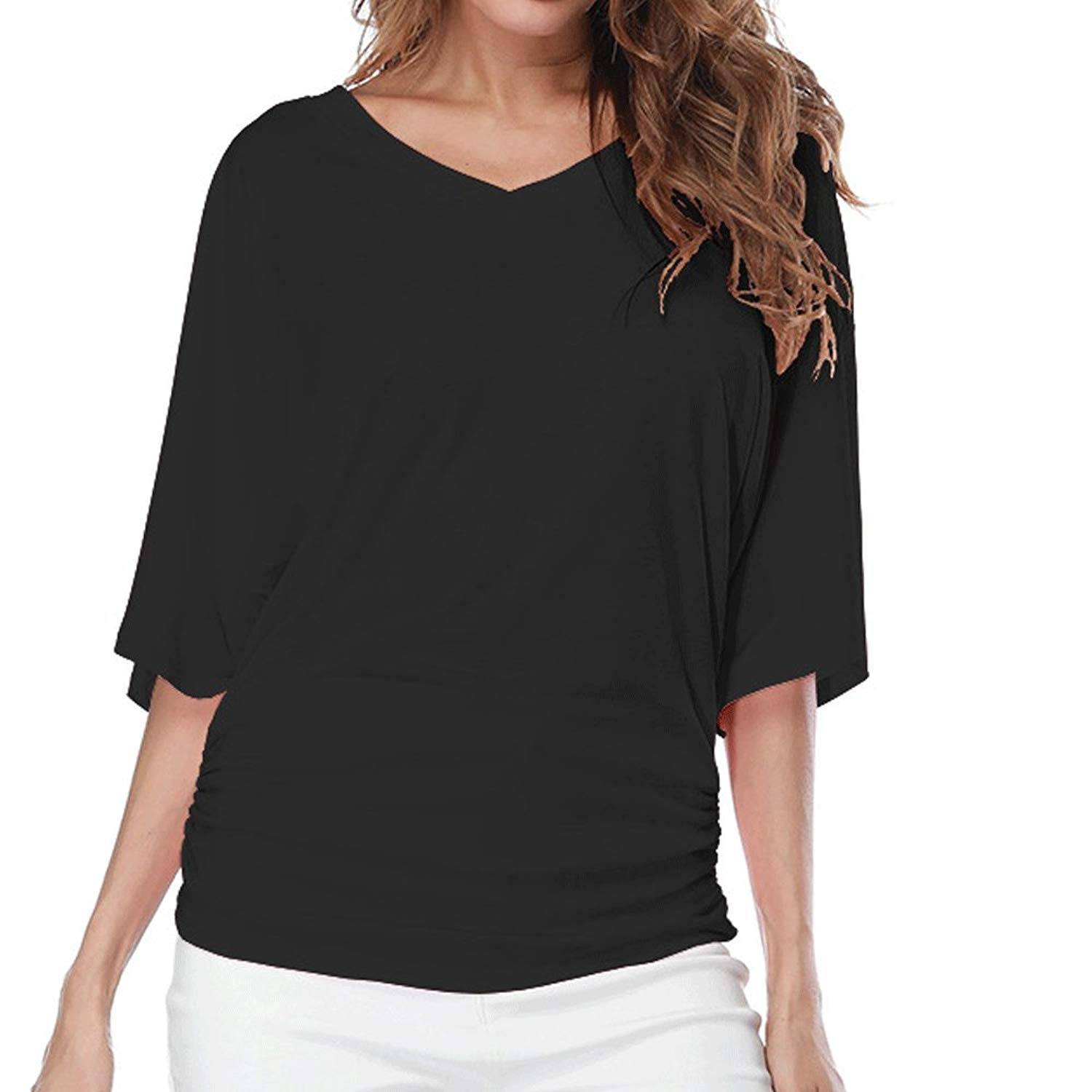 a5a11fddec28a2 Get Quotations · LINGMIN Women Plus Size V Neck Loose Fitting T-Shirt Tops  Solid Short Sleeves Dolman