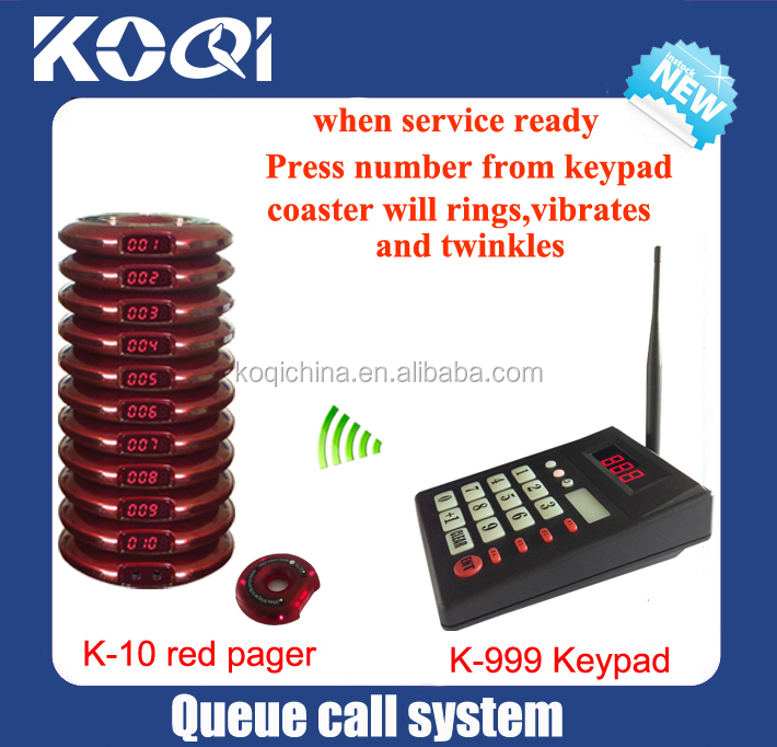 customers pager vibrating Wireless system call service coaster call (1 keypad 10 coaster pager)