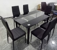 13191 Modern dining room Furniture Glass Kitchen Dining Dinette Top 6 Person Dining Table and Chairs Set