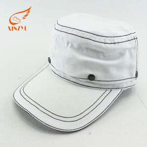 High quality contrast stitching white military hat/caps flat top army cap