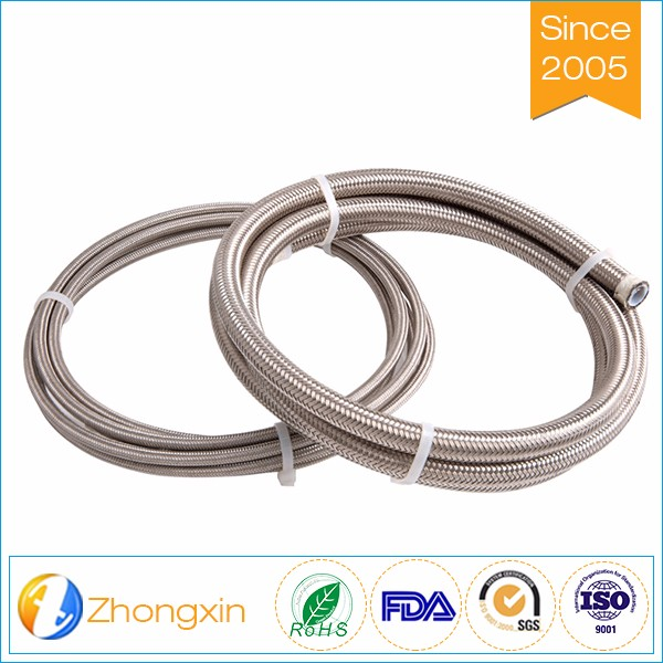 AN3 AN4 AN6 AN8 ss 304 wire braided ptfe hose for oil purpose