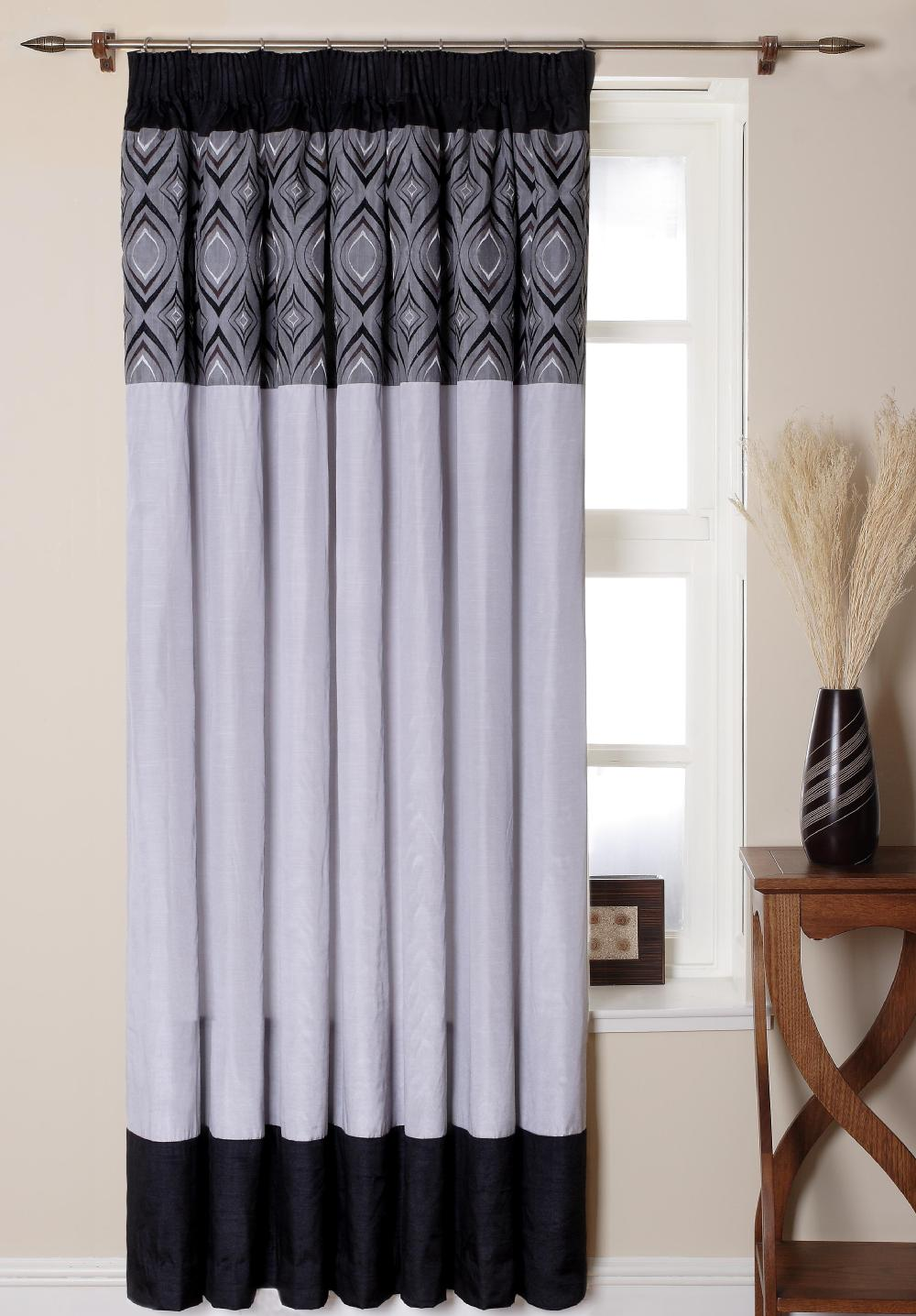 Charming Black And White Patterned Curtains Black Blackout Curtains From China  Supplier