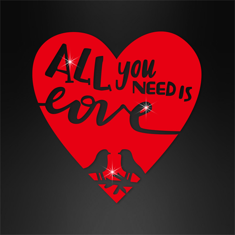 All your need is love hot fix pvc material iron on sayings for t shirts