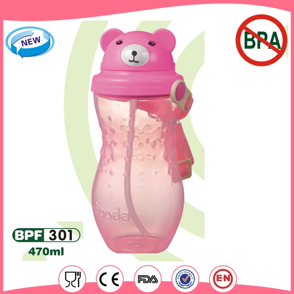 kids Plastic cup with lid and straw
