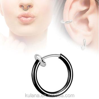 15 Mm Wide Spring Nose Piercing Fake Septum Navel Piercing