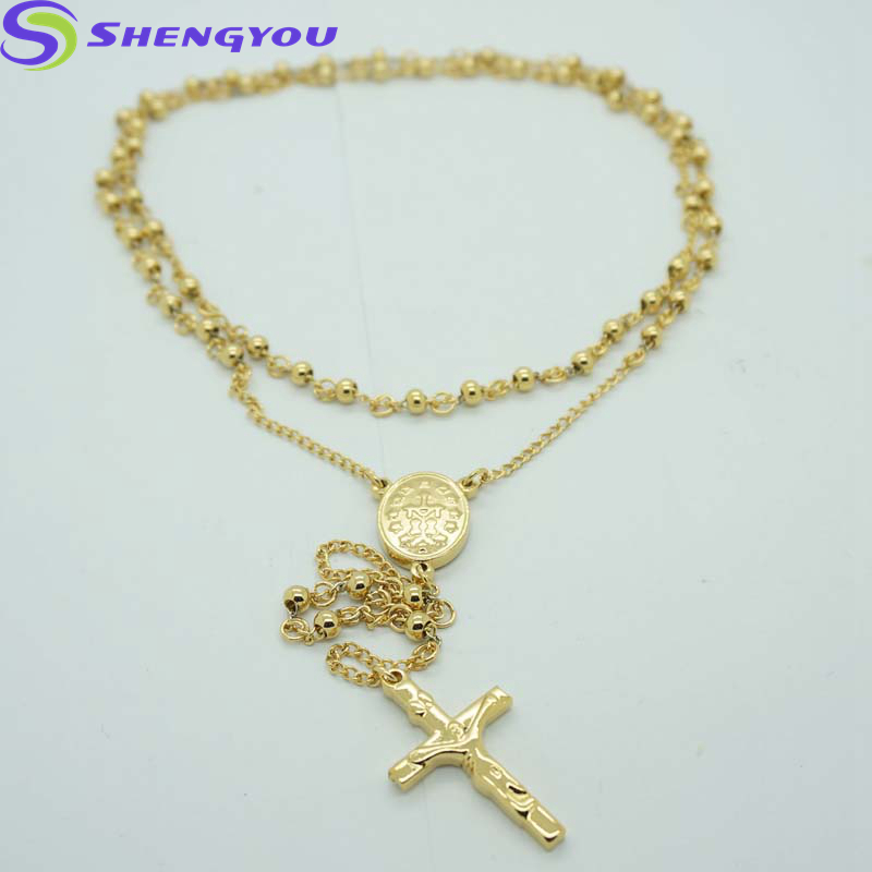 1e5ec4059f Jewelry Wholesale China Gold Rosary Chain And Cross Pendant Fashion Necklace