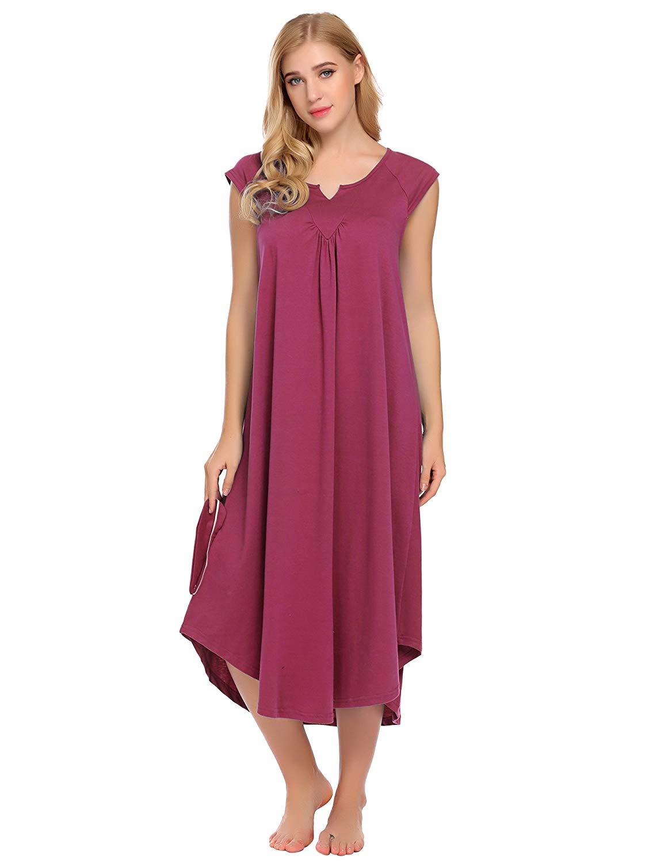 Get Quotations · Asatr Women s Nightgown Dress Long Cotton Nightdress Loose  Cap Short Sleeve Sleepwear Maxi Dress S- 922a4a533