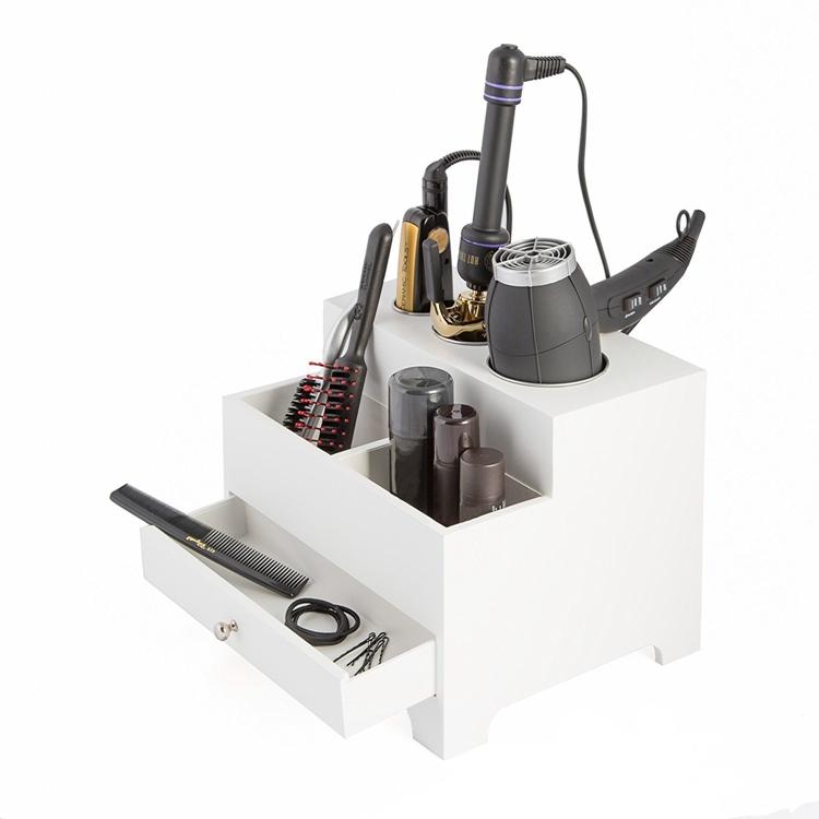 White Black Personal 3 Compartment Wooden Hair Dryer Desk Organizer