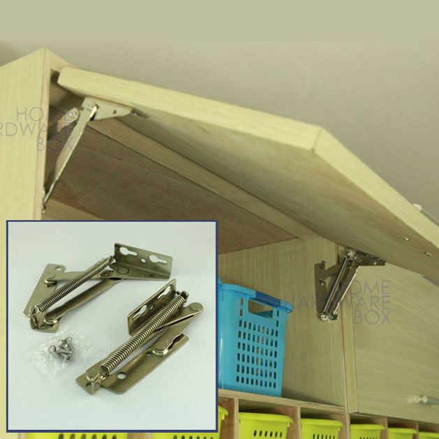 Lift Hinges For Kitchen Cabinets: Pair Of Cabinet Door Lift Up Flap Top Support Spring