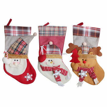 Size Christmas Table And Tree Topper Decorations Traditional Tartan Stockings Best Xmas