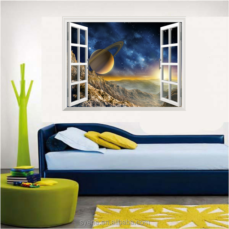 3d Customize Outer Space Planet Wall Stickers For Kids Baby Room