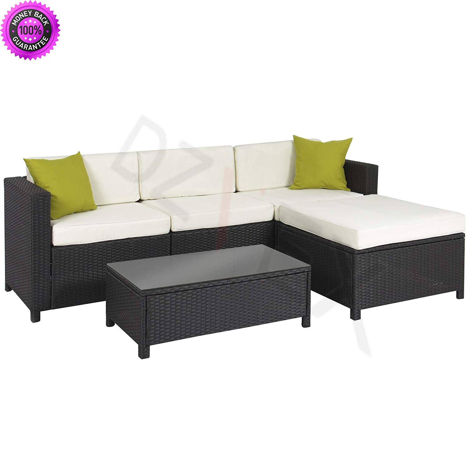 DzVeX 5PC Rattan Wicker Aluminum Frame Sofa Set Cushioned Sectional Outdoor Patio And patio furniture clearance sale patio furniture sets patio furniture lowes discount outdoor furniture patio
