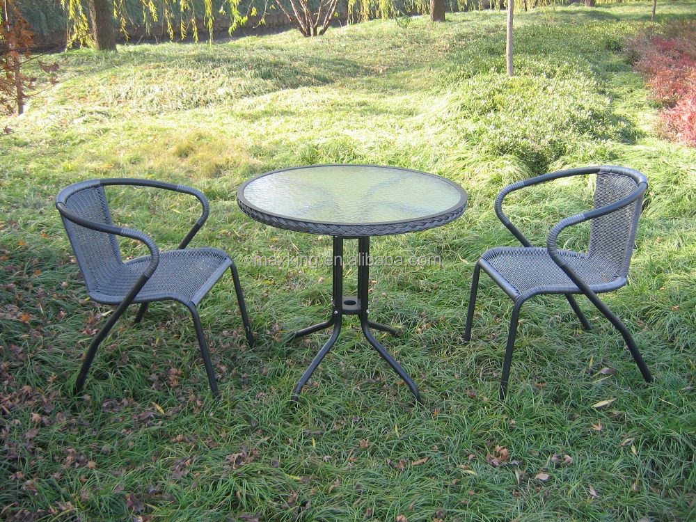 PE Rattan Bistro Set - 2 Chairs & Table - Garden Furniture