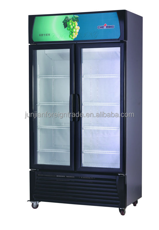 Supermarket Equipment Guangzhou Manufacturer 3 Door Glass Mini Fridge Table  Top Bar Refrigerator For Beer And