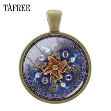 TAFREE DIY стеклянные драгоценные камни подвески Модный классический узор мандала цветок знак кулон брелок ожерелье аксессуары Jewekry CT323(Китай)