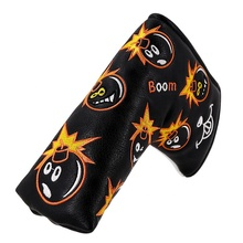 New Customized Black PU Leather Magnetic Golf Blade Putter Headcover