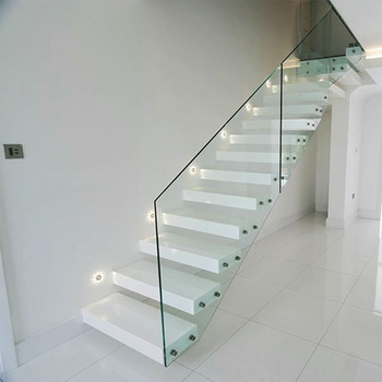 House Red Oak Tread Stairs Floating Cantilevered Staircase With Frameless  Tempered Glass Railing