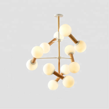 Stained glass bubbles decoratieve led opknoping bal licht spiraal metalen hout fancy kroonluchter hanglampen <span class=keywords><strong>voor</strong></span> <span class=keywords><strong>thuis</strong></span>