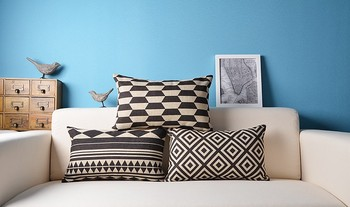 Superieur Sofa Rectangle Decorative Geometric Design Black And White Long Cushion In  Cushion Cover