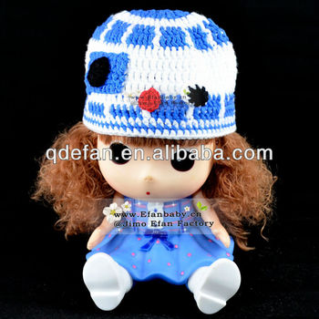 100%hand knitted animal R2D2 winter crochet baby hat and caps minions  acrylic beanie 0d30ca0d59b